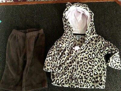 Girls Outfit Size 3 Months - Hoodie,  Brown, Pink Leopard Print / Brown Pants