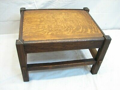 Early Wooden Arts & Crafts Foot Stool Bench Rest Home Decor Mission Mortise Leg
