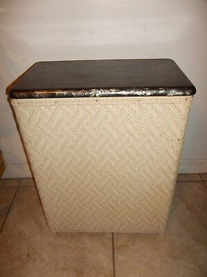 Vintage Mid Century VOGUE Rattan Wicker Laundry Hamper Pearl Celluloid Top 1950