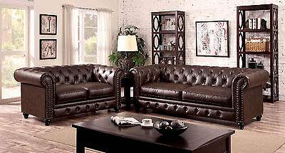 Formal Traditional Tufted Brown 2pc Sofa Set Sofa & Loveseat Fabric Couch