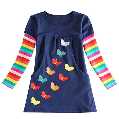Toddler Children Kids Baby Girls Rainbow Striped Animal Dress Casual Clothes
