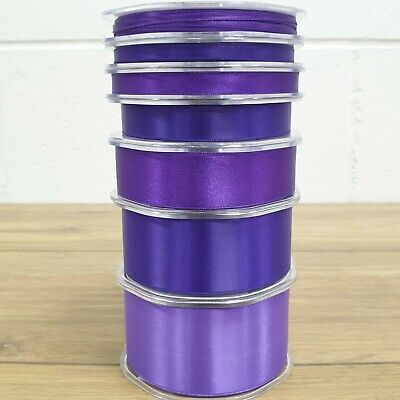Beautiful Purple Double Sided Satin Ribbon 3mm-50mm Wide Solid Plain CUT PER 1M