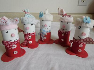 Hand made Toilet/towel paper roll SNOWMEN lot of 5 Christmas decoration vintage