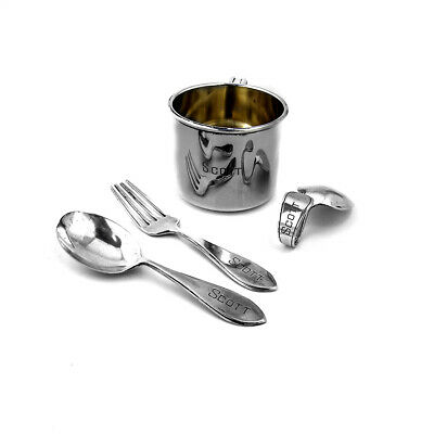 Baby Cup 3 Piece Flatware Set Sterling Silver Inscribed