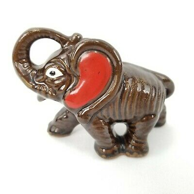 Vtg Hand Painted Lucky Trunk Up Elephant Brown Pottery Glazed Ceramic Figurine