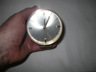 RARE SWIZA BRASS CYLINDER DESK CLOCK MID CENTURY MODERNIST FOR SPARES or REPAIR