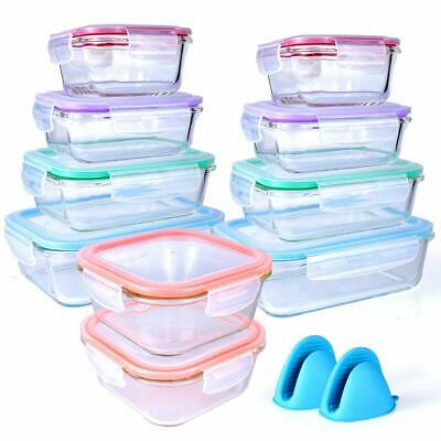 20 Piece Glass Food Storage Airtight & Leakproof Containers Set - Snap Lock Lids