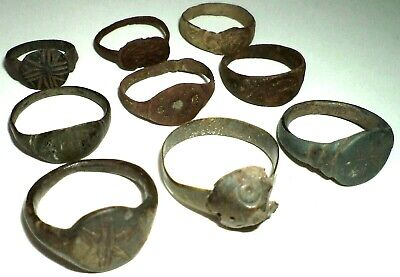 Ancient medieval lot of 9 pcs bronze finger Rings.