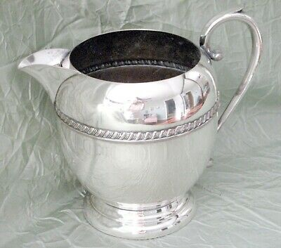 Elegant Art Deco Antique Sheridan Silver On Copper Water Pitcher W/Ice Lip