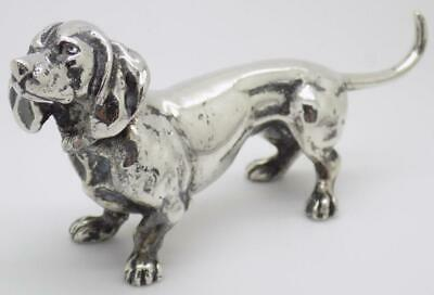 Vintage Solid Silver Italian Made Dog Statue Figurine Large Miniature Stamped