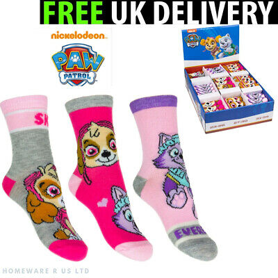 Girls Socks 3 Pairs Pack ( 6-8 9-12 13-3 Official Paw Patrol Kids Childrens Pink