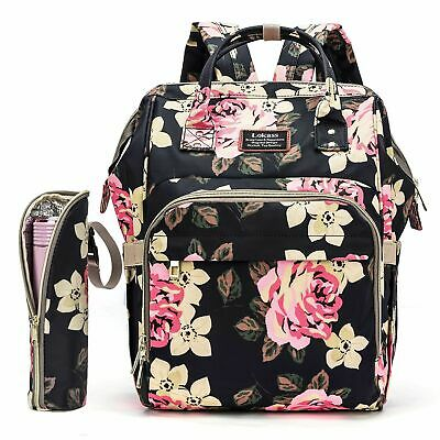 Diaper Bag Backpack Mummy Baby Nappy Bag W/Insulated Bottle Bag Changing Pad US