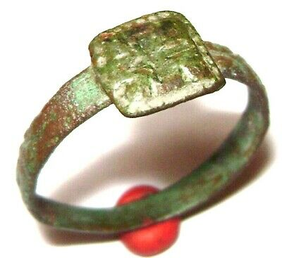 Ancient Medieval bronze finger Ring with CROSS on bezel.