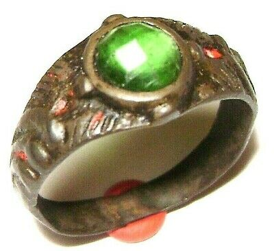 Ancient Rare Medieval bronze finger ring with green stone.