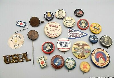 Antique Pinback Badge Pin Lot Advertising Political 1900s Celluloid Tin Red Comb