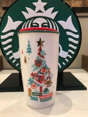 2019 Disney Parks Disneyland Starbucks Happy Holiday Ceramic Tumbler Travel Mug