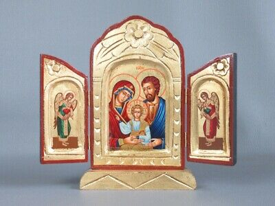 Icon Byzantine Shrine Openable Wooden Handmade With Shapes Sacre
