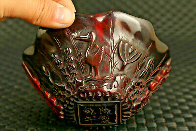 unique old chinese yak horn hand carved fish flower statue bowl decoration gift