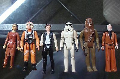 Star Wars LOOSE 3 3/4 Action Figure Kenner 1977 LOT Han Solo Leia Luke Chewbacca