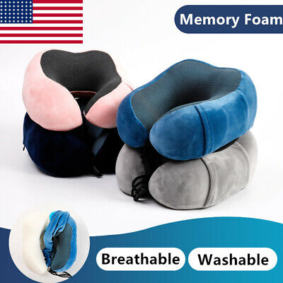 Memory Foam U-shaped Travel Pillow Neck Support Airplane Soft Cushion Breathable