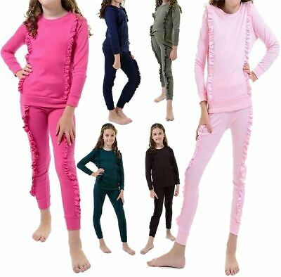 Girls Kids Duel Ruffle Frill Tracksuit Childrens Co Ord Loungewear Jogger Set