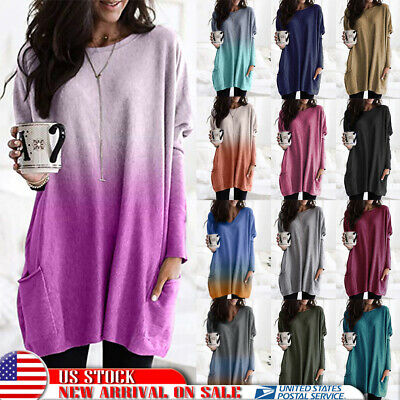 Plus Size Women Long Sleeve Pullover T-shirt Loose Baggy Casual Tunic Top Jumper