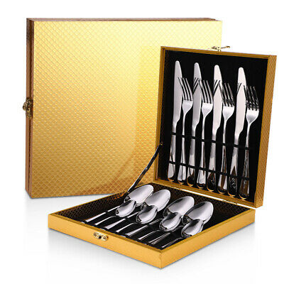 16 Pcs/Set Stainless Steel Cutlery Tableware Dinnerware Set Knife Fork Spoon Kit