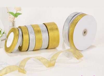 Gold/Silver Metallic Ribbon Xmas Wedding Wrap Organza Ribbon Craft 25yds/roll