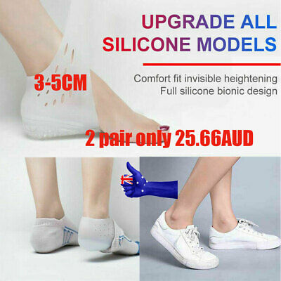 1/2 Pair 3-5cm Invisible Height Lift Heel Pad Sock Liners Insole Increase pad AU