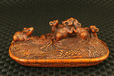 Lovely old boxwood hand carved mouse statue netsuke home decoration