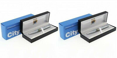 2 x Man City Executive Pen Sets in Gift Boxes - Chrome Ball Point Pen-Ideal Gift
