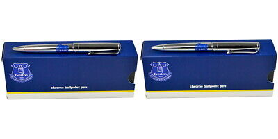 2 x Everton Executive Pen Sets in Gift Boxes -Chrome Ball Point Pen - Ideal Gift