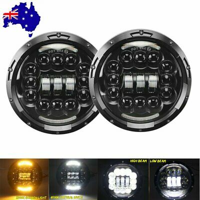 2X 7 Inch Round LED Headlight Halo Angle Eyes For Jeep Wrangler Nissan Patrol GQ
