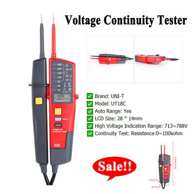 UNI-T UT18C Voltage Continuity Electrical LCD LED Two Pole Tester Detector