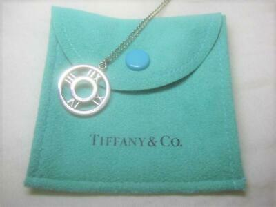 Tiffany & Co.Atlas Circle Pendant Sterling Silver 925 Chain Necklace w/Pouch