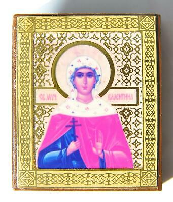 20c RUSSIAN IMPERIAL STYLE ORTHODOX ICON HOLY MARTYR VALENTINA, JESUS GOLD CROSS