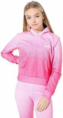 Hype Girls Kids Junior Crop Speckle Fade Hoodie Pink