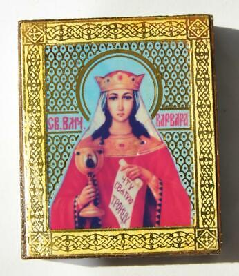 20c RUSSIAN IMPERIAL STYLE ORTHODOX ICON HOLY MARTYR VARVARA, JESUS GOLD CROSS