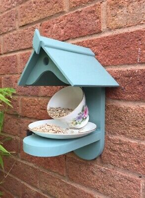 Bird Feeder Handmade Garden Cup and Saucer Sparrows Blue Tit Free UK Postage