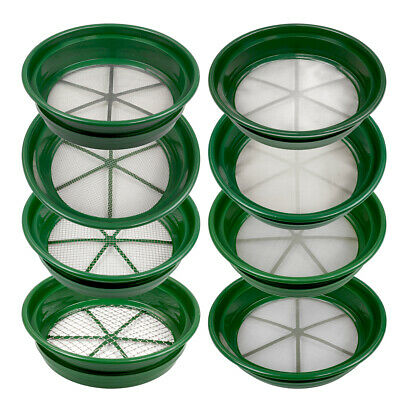 8 pc Green Plastic Gold Sifting Pan Classifier Stackable Mesh Size 1/2 to 1/100