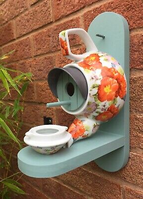 Bird Nest Box Feeder Teapot Handmade Birdhouse Garden Free UK P&P