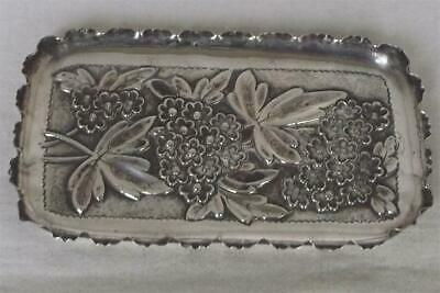 A Stunning Antique Solid Sterling Silver Victorian Trinket Tray Birmingham 1890.