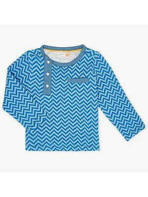 John Lewis & Partners Baby Zig Zag Jacquard Top / Blue 0-3 Mths New With Defect