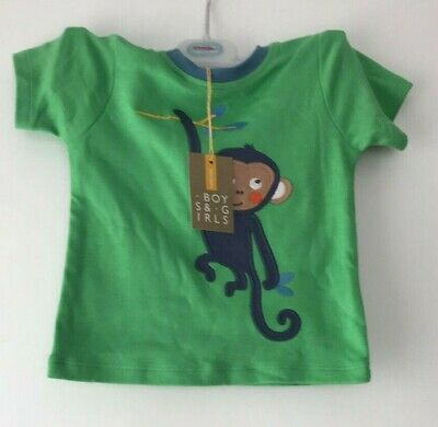 John Lewis Baby Monkey Jersey Pyjama Top / Green 9-12 Mths New With Defect
