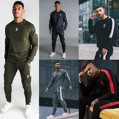 Gym King Mens Fleece Crew Neck Designer Stripe Panel Navy/White Full Tracksuit