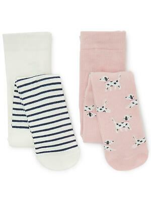 John Lewis Baby Cotton Rich Tights 2 Pack / Multi 6-12 Mths New With Defect