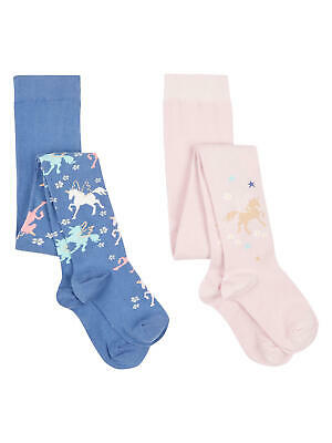 John Lewis Girls' Unicorn Tights 2 Pack Blue/Pink 11-12 Years New With Defect