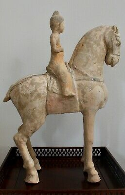 Chinese Tang Dynasty Female Courtier Riding Horse With Tl Test
