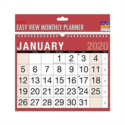 2020 Easy View Monthly Spiral Bound Planner for Office Desk & Home Wall Calendar