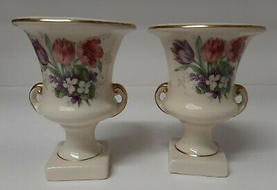 Pair of Mint Small Vintage Urns. Floral with Gold Trim. Adorable! Tulips!